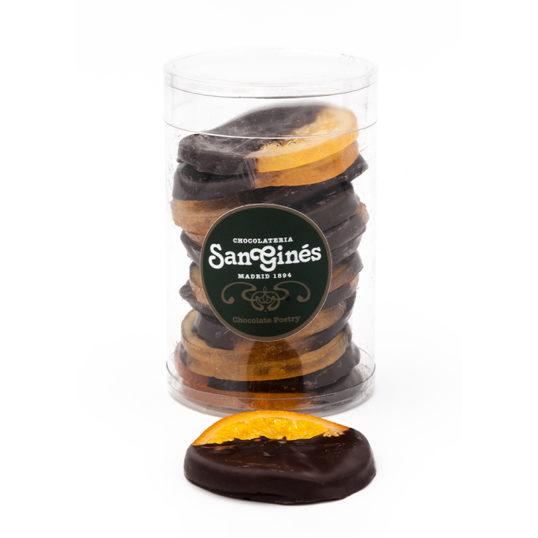 Discos de naranja con chocolate negro